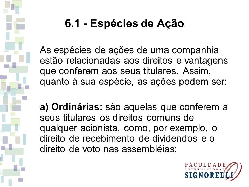 6.1 - Espécies de Ação