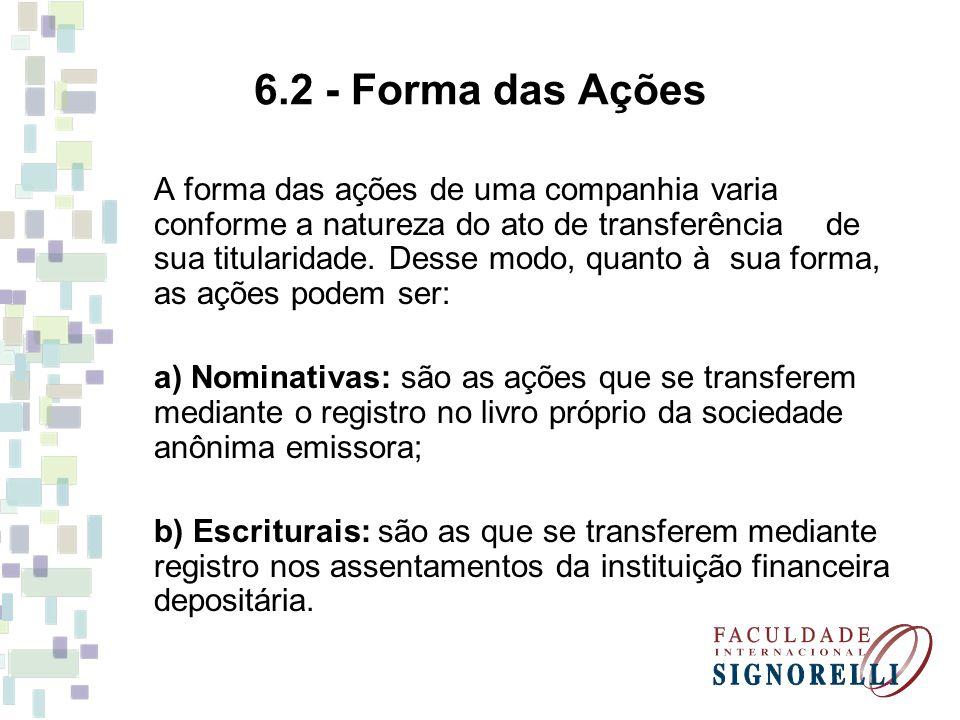 6.2 - Forma das Ações