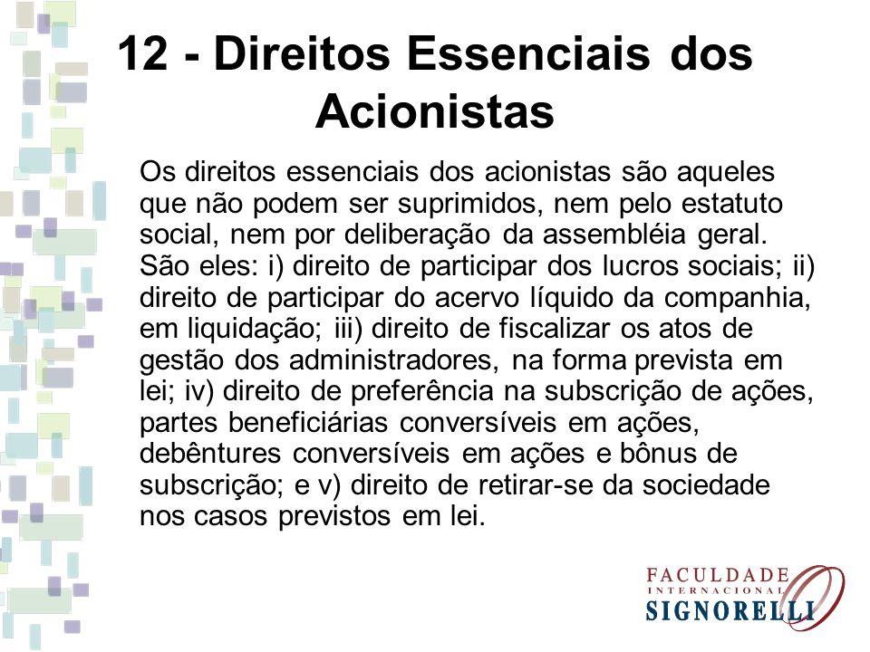 12 - Direitos Essenciais dos Acionistas