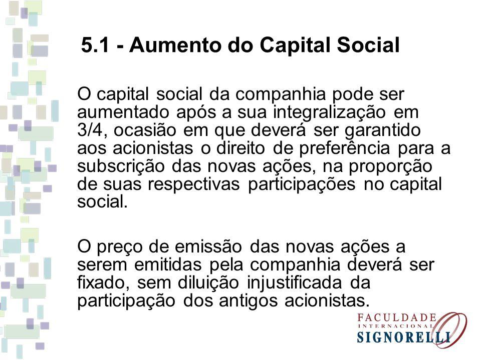 5.1 - Aumento do Capital Social