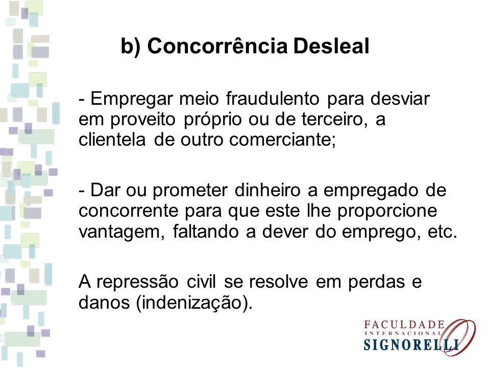 b) Concorrência Desleal
