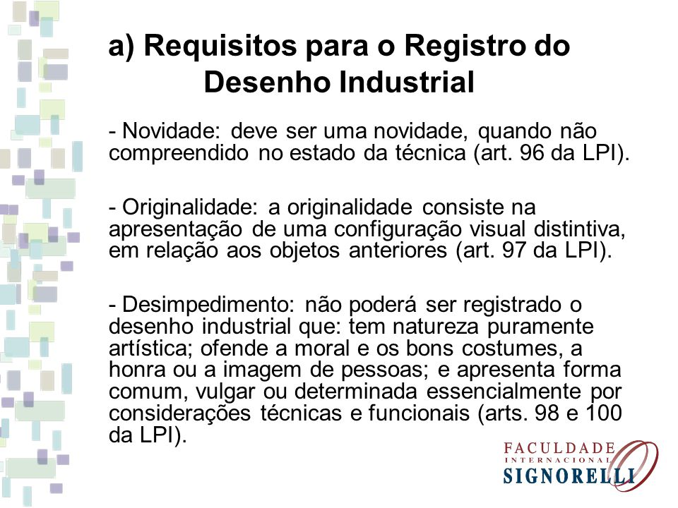 a) Requisitos para o Registro do Desenho Industrial