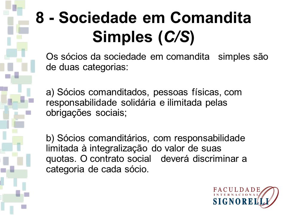 8 - Sociedade em Comandita Simples (C/S)