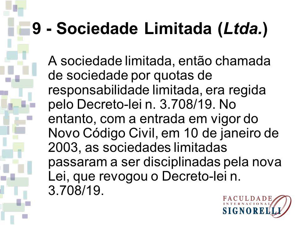 9 - Sociedade Limitada (Ltda.)