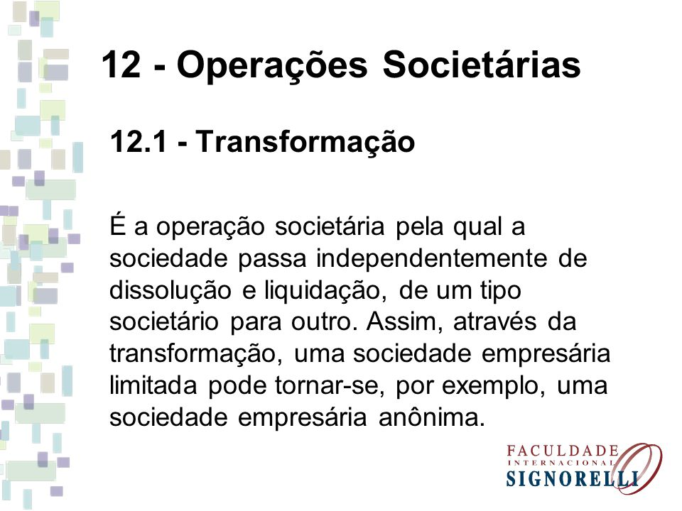 12 - Operações Societárias