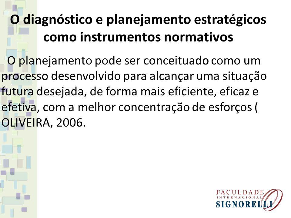 O diagnóstico e planejamento estratégicos como instrumentos normativos
