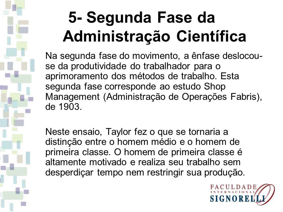 5- Segunda Fase da Administração Científica