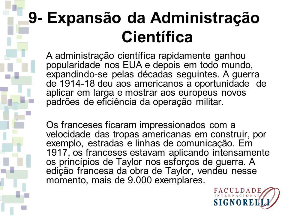 9- Expansão da Administração Científica