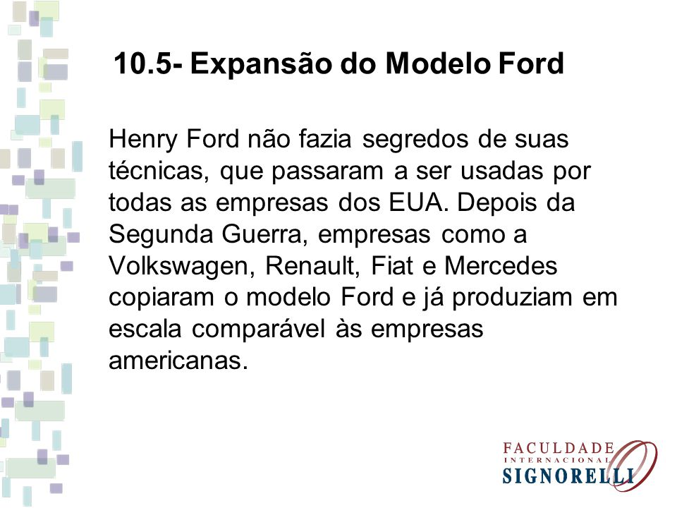 10.5- Expansão do Modelo Ford