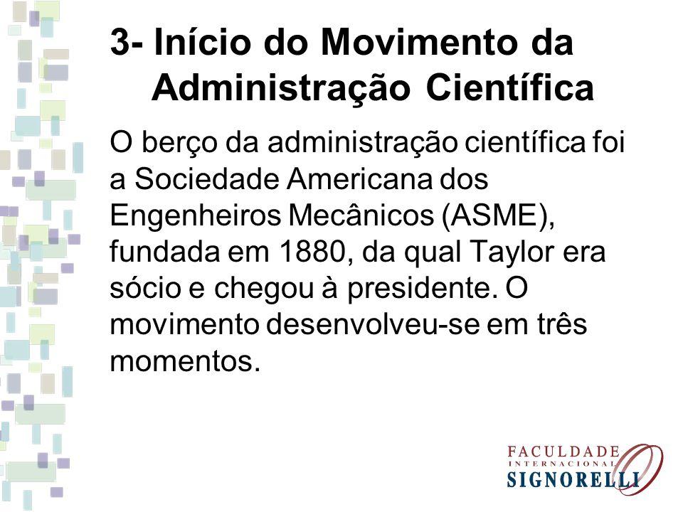 3- Início do Movimento da Administração Científica