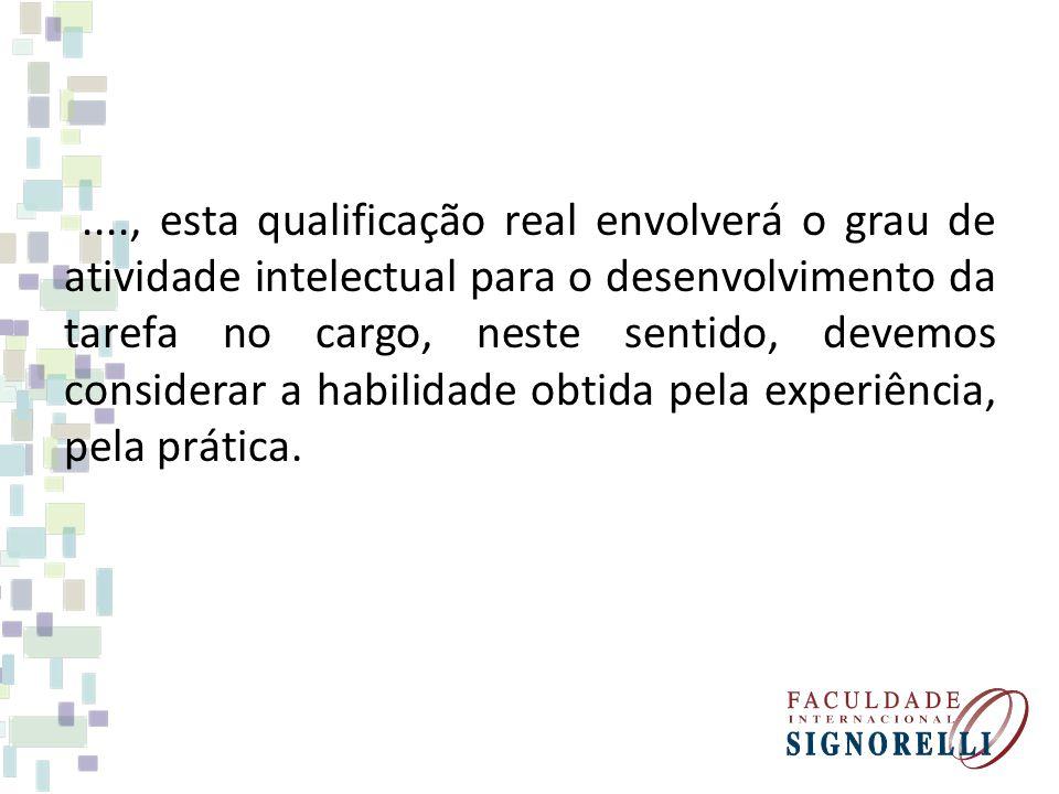 ...., esta qualificação real envolverá o grau de atividade intelectual para o desenvolvimento da tarefa no cargo, neste sentido, devemos considerar a habilidade obtida pela experiência, pela prática.