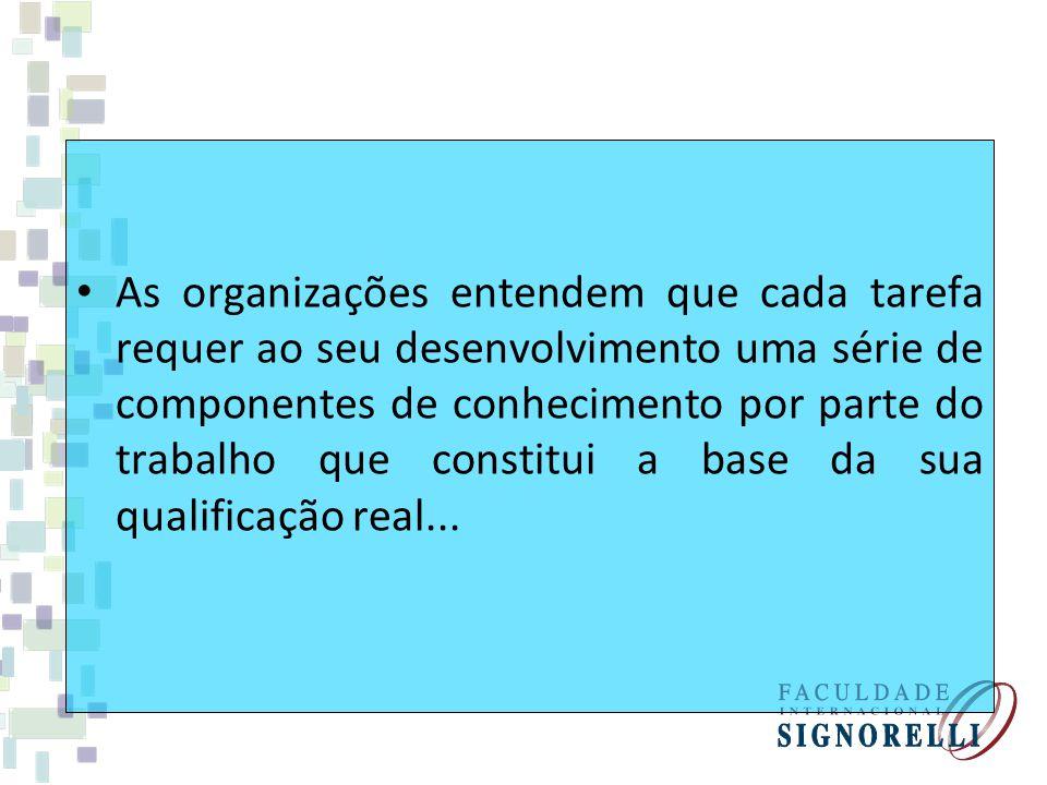 As organizações entendem que cada tarefa requer ao seu desenvolvimento uma série de componentes de conhecimento por parte do trabalho que constitui a base da sua qualificação real...