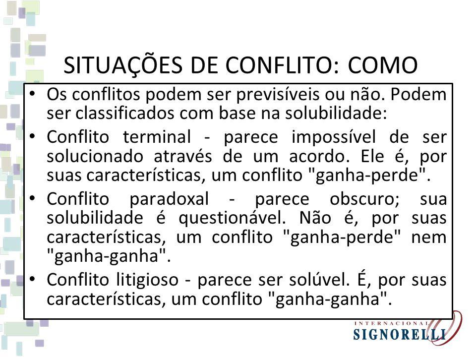 SITUAÇÕES DE CONFLITO: COMO ENFRENTÁ-LAS
