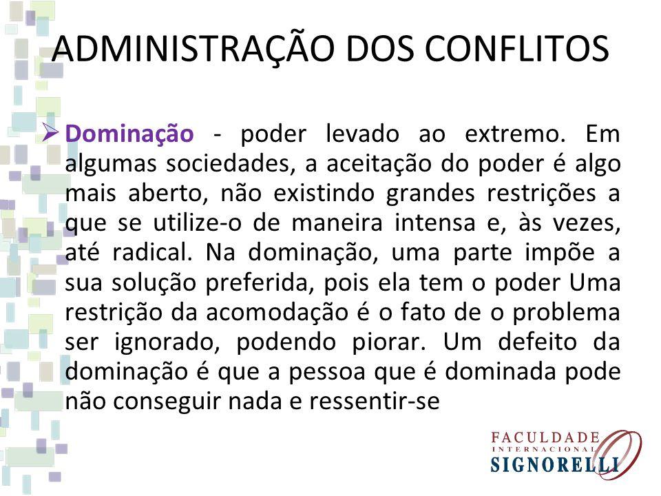 ADMINISTRAÇÃO DOS CONFLITOS