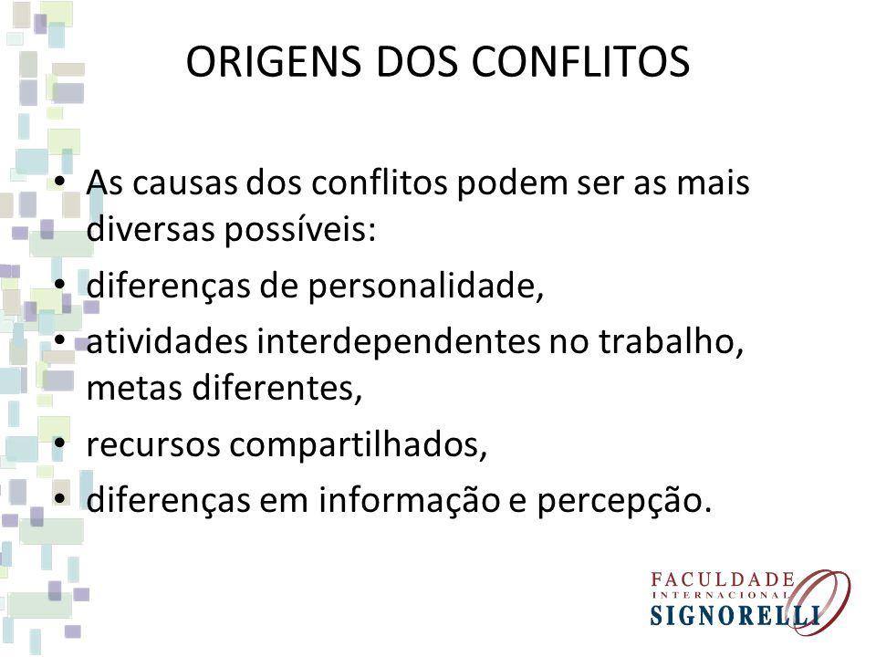 ORIGENS DOS CONFLITOS As causas dos conflitos podem ser as mais diversas possíveis: diferenças de personalidade,