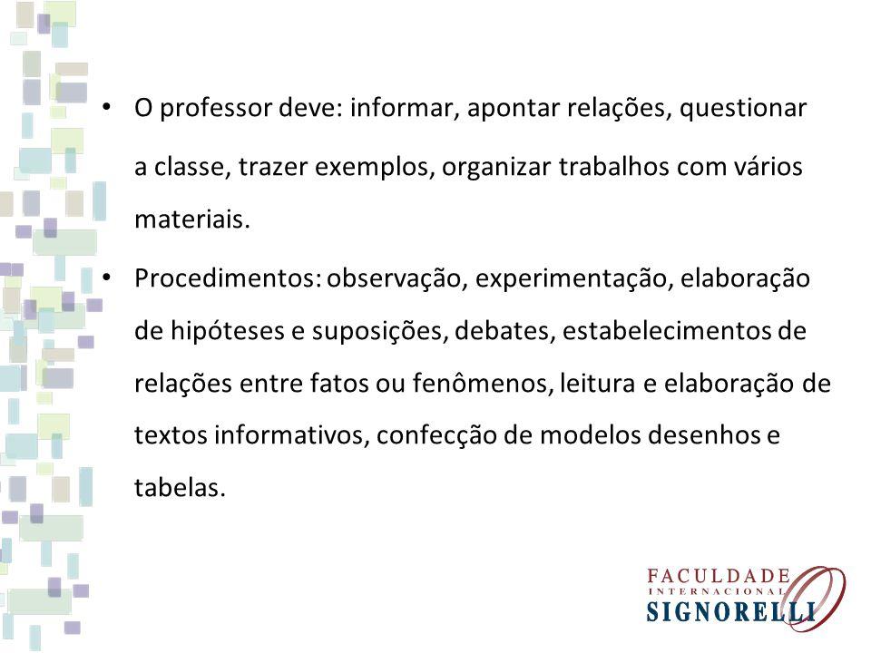 O professor deve: informar, apontar relações, questionar