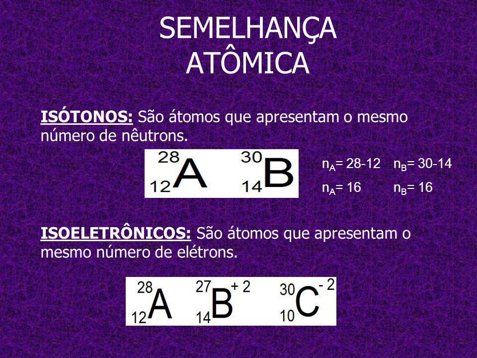 SEMELHANÇA ATÔMICA ISÓTONOS: São átomos que apresentam o mesmo número de nêutrons. nA= 28-12. nA= 16.