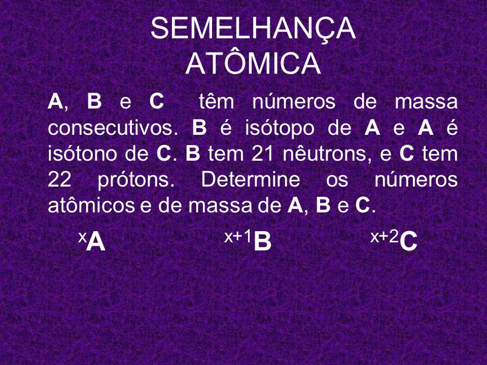 SEMELHANÇA ATÔMICA xA x+1B x+2C