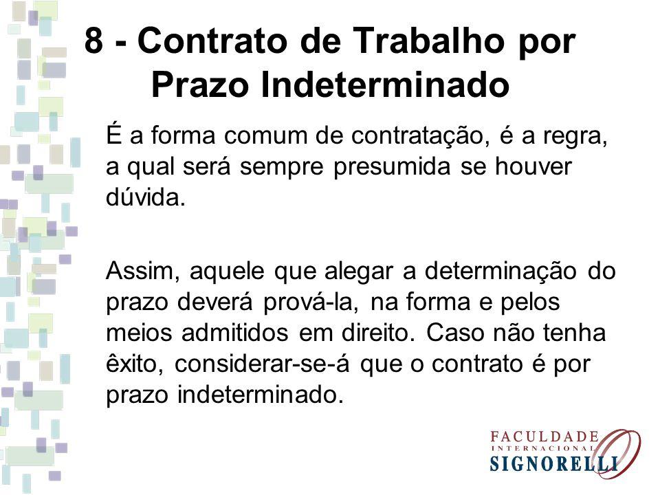 8 - Contrato de Trabalho por Prazo Indeterminado