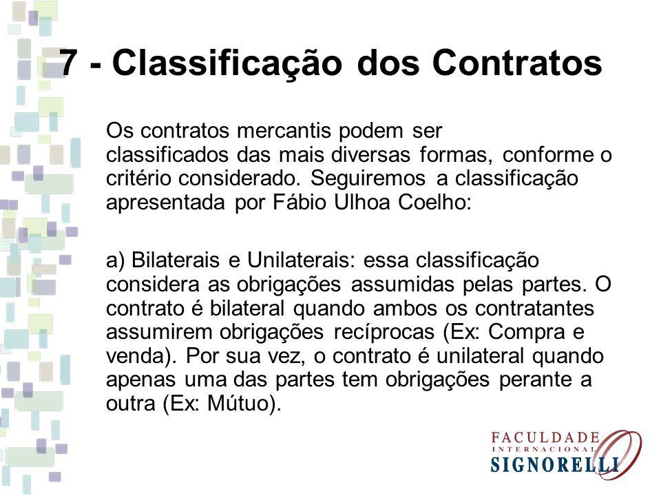 7 - Classificação dos Contratos