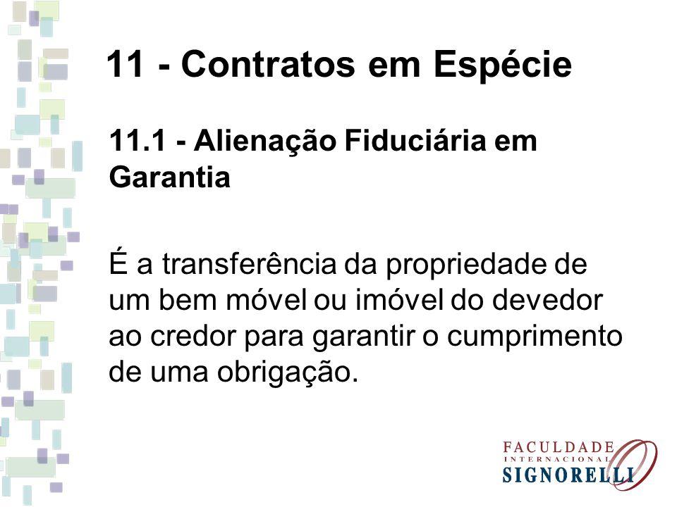 11 - Contratos em Espécie 11.1 - Alienação Fiduciária em Garantia