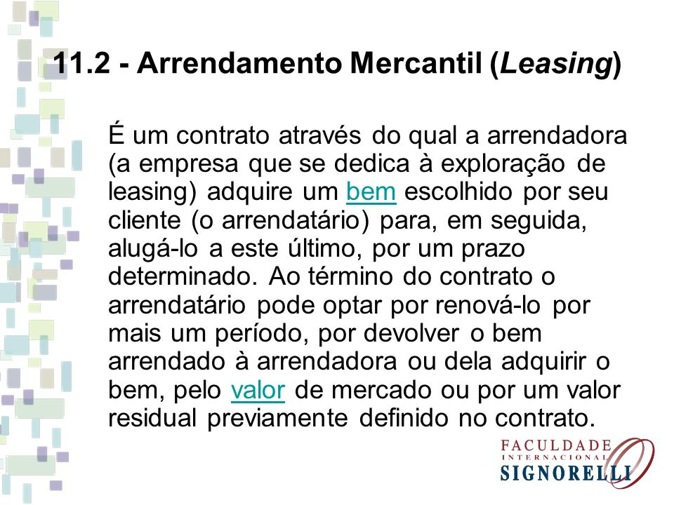11.2 - Arrendamento Mercantil (Leasing)