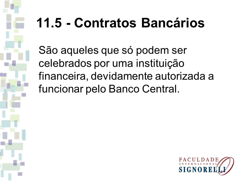 11.5 - Contratos Bancários