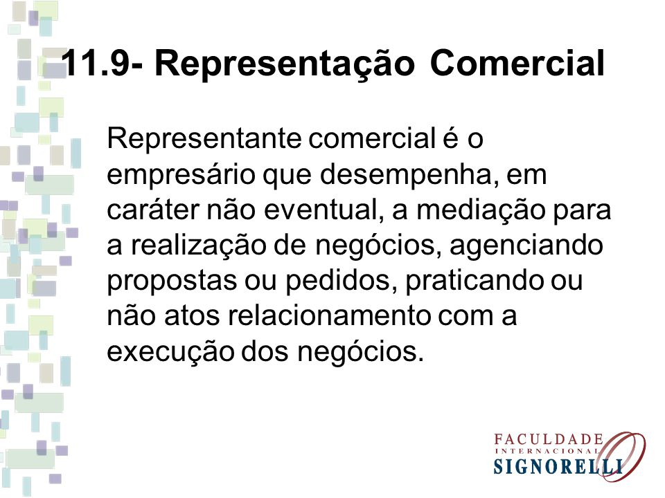 11.9- Representação Comercial