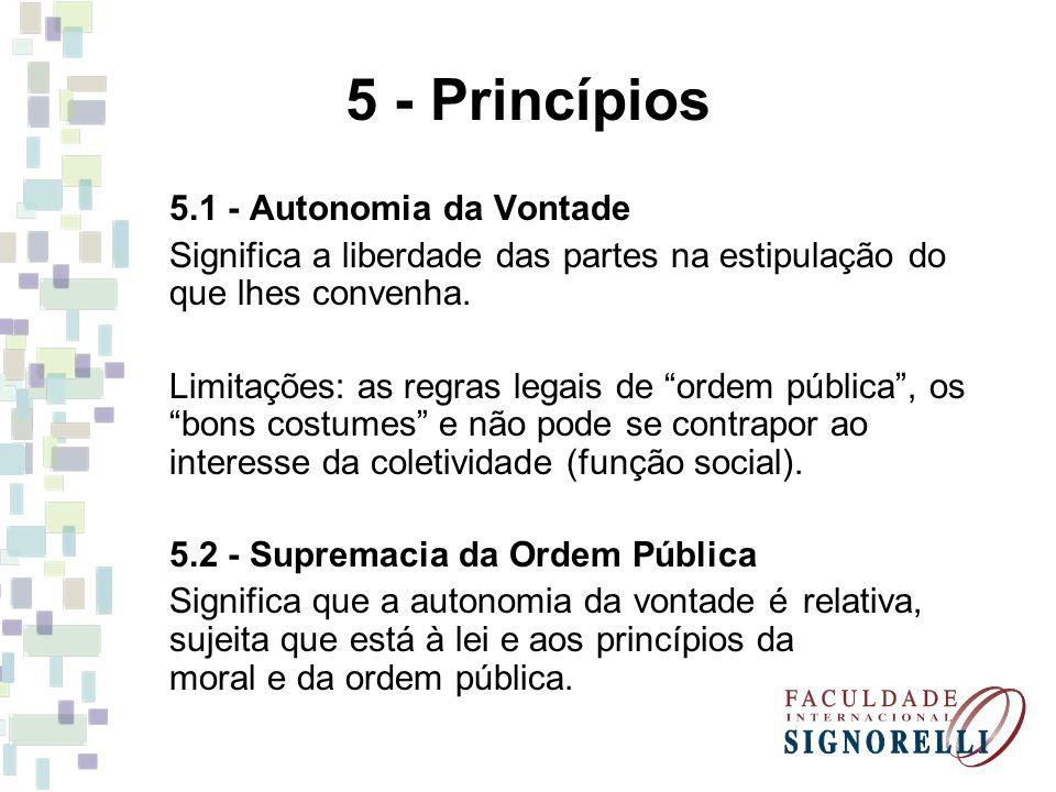 5 - Princípios 5.1 - Autonomia da Vontade
