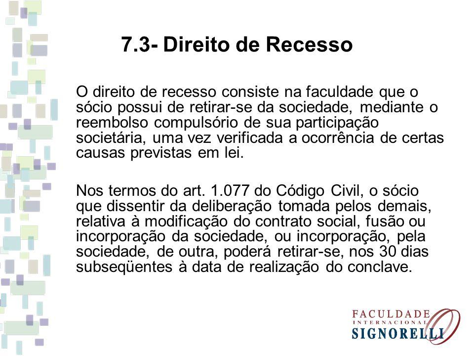 7.3- Direito de Recesso
