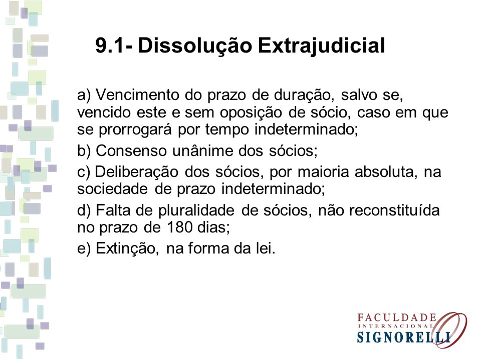 9.1- Dissolução Extrajudicial