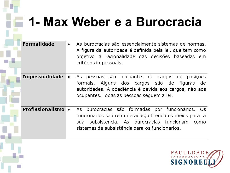 1- Max Weber e a Burocracia