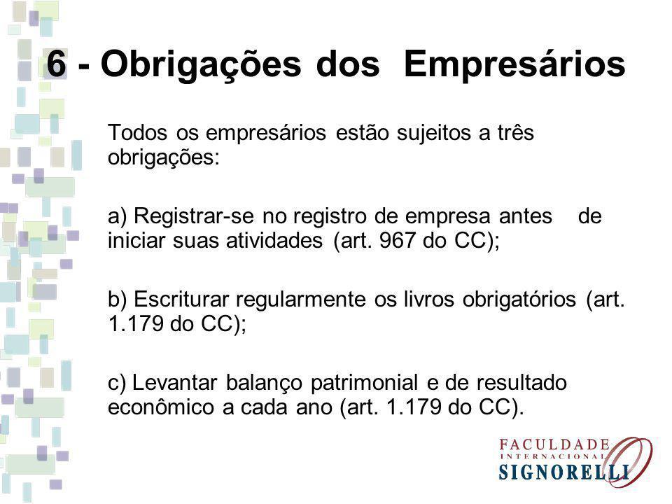 6 - Obrigações dos Empresários