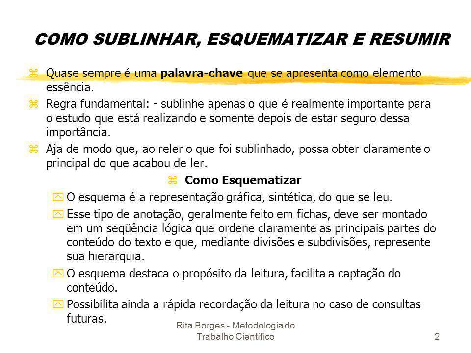COMO SUBLINHAR, ESQUEMATIZAR E RESUMIR