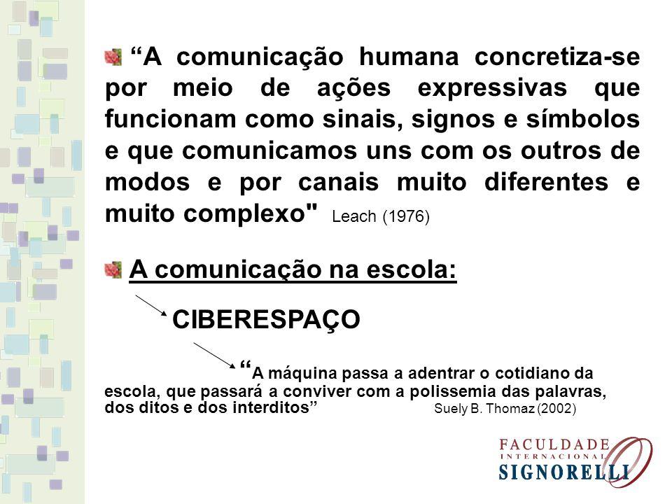 A comunicação humana concretiza-se por meio de ações expressivas que funcionam como sinais, signos e símbolos e que comunicamos uns com os outros de modos e por canais muito diferentes e muito complexo Leach (1976)