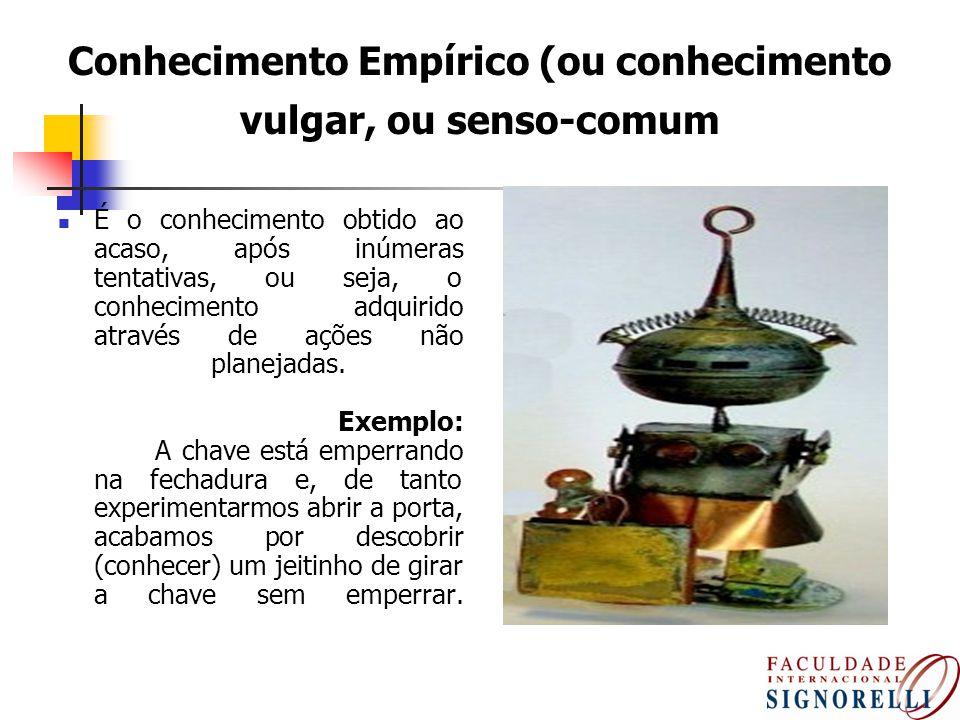 Conhecimento Empírico (ou conhecimento vulgar, ou senso-comum