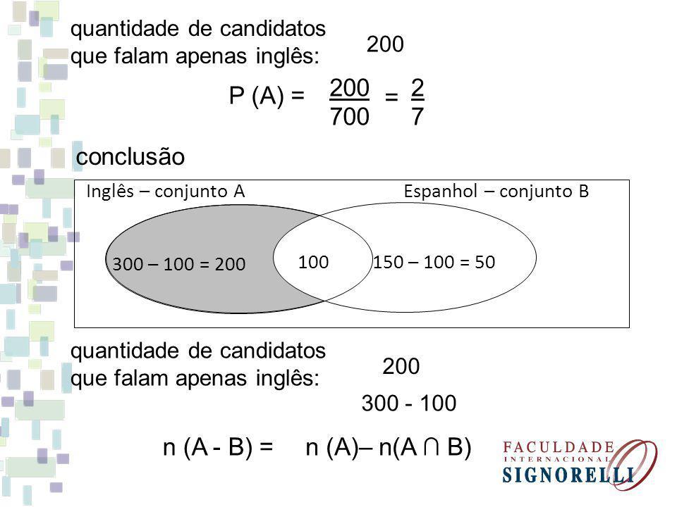 200 700 2 7 P (A) = = conclusão n (A - B) = n (A)– n(A ∩ B)