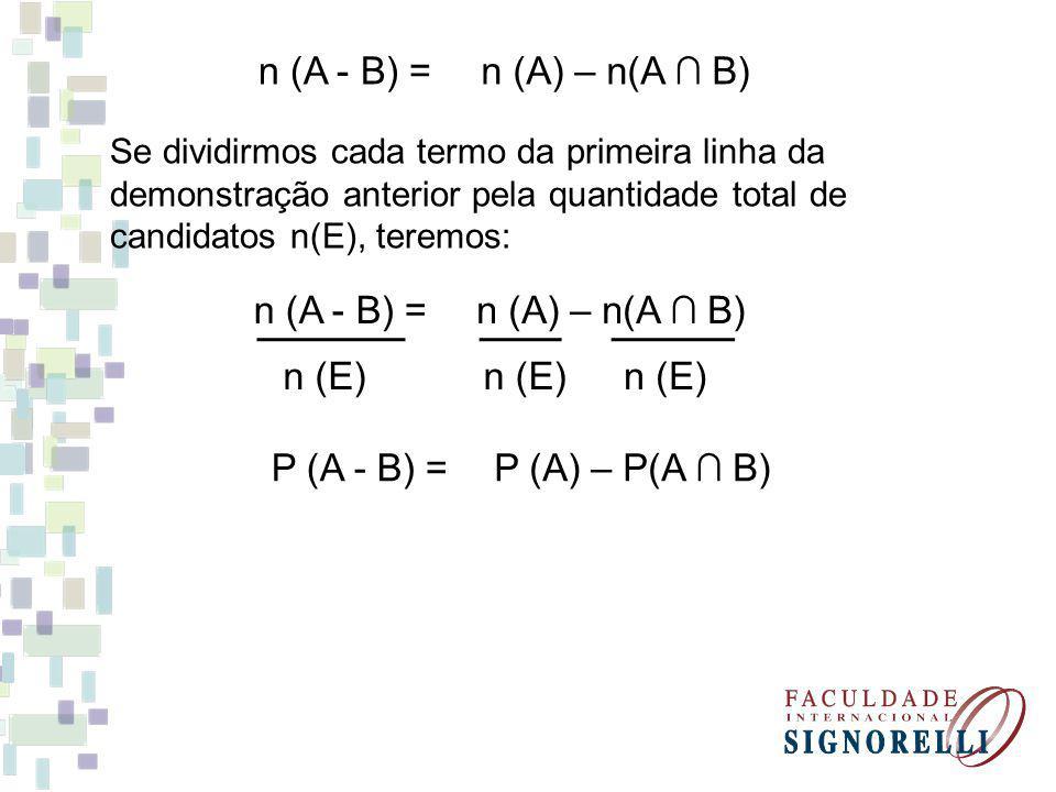 n (A - B) = n (A) – n(A ∩ B) n (A - B) = n (A) – n(A ∩ B) n (E) n (E)