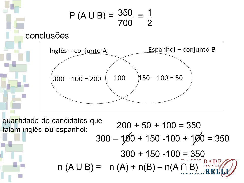 350 700 1 2 P (A U B) = = conclusões 200 + 50 + 100 = 350