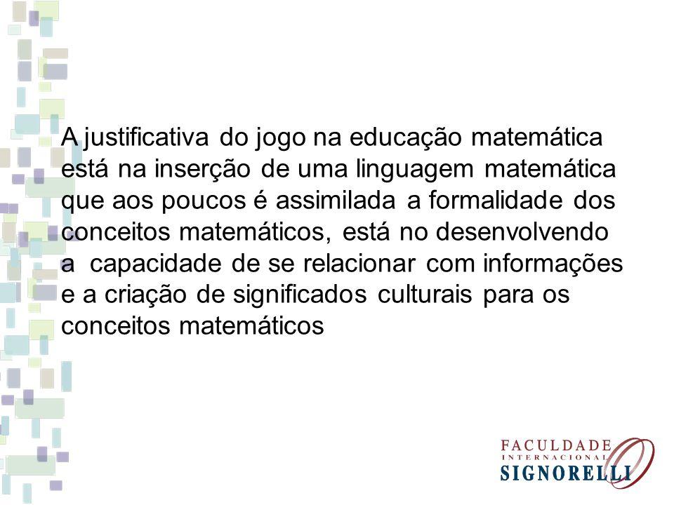 A justificativa do jogo na educação matemática