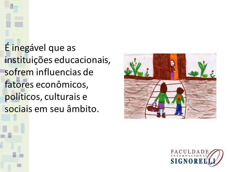 É inegável que as instituições educacionais, sofrem influencias de fatores econômicos, políticos, culturais e sociais em seu âmbito.