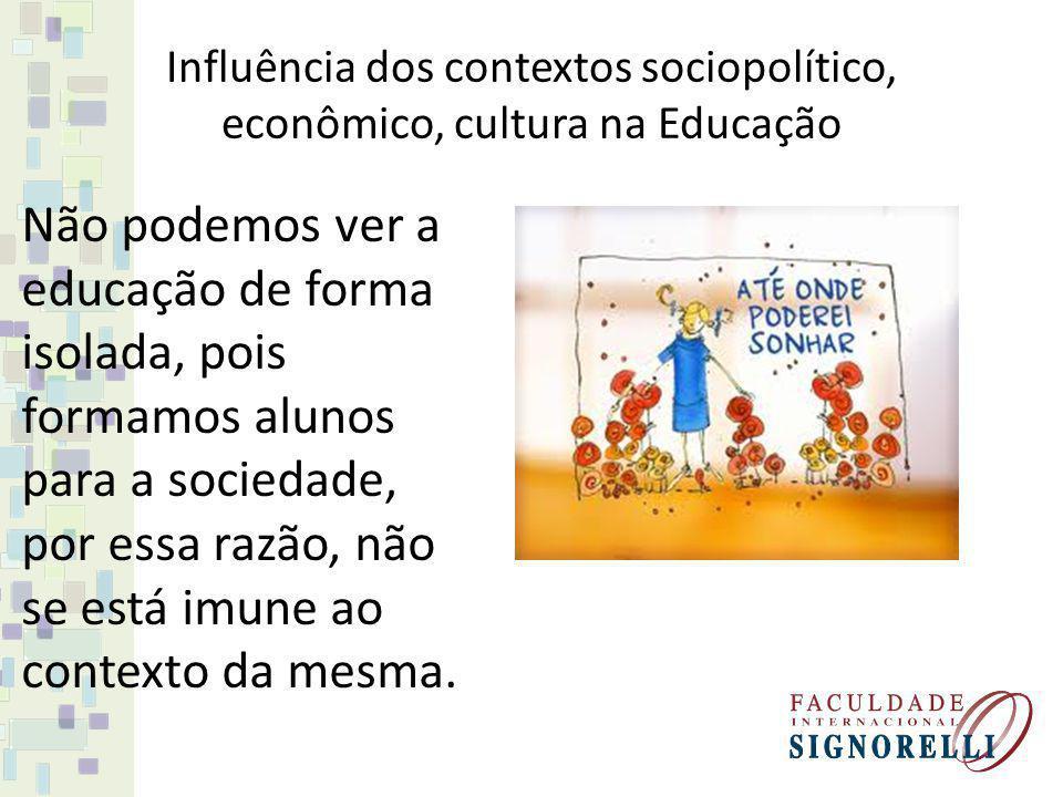 Influência dos contextos sociopolítico, econômico, cultura na Educação