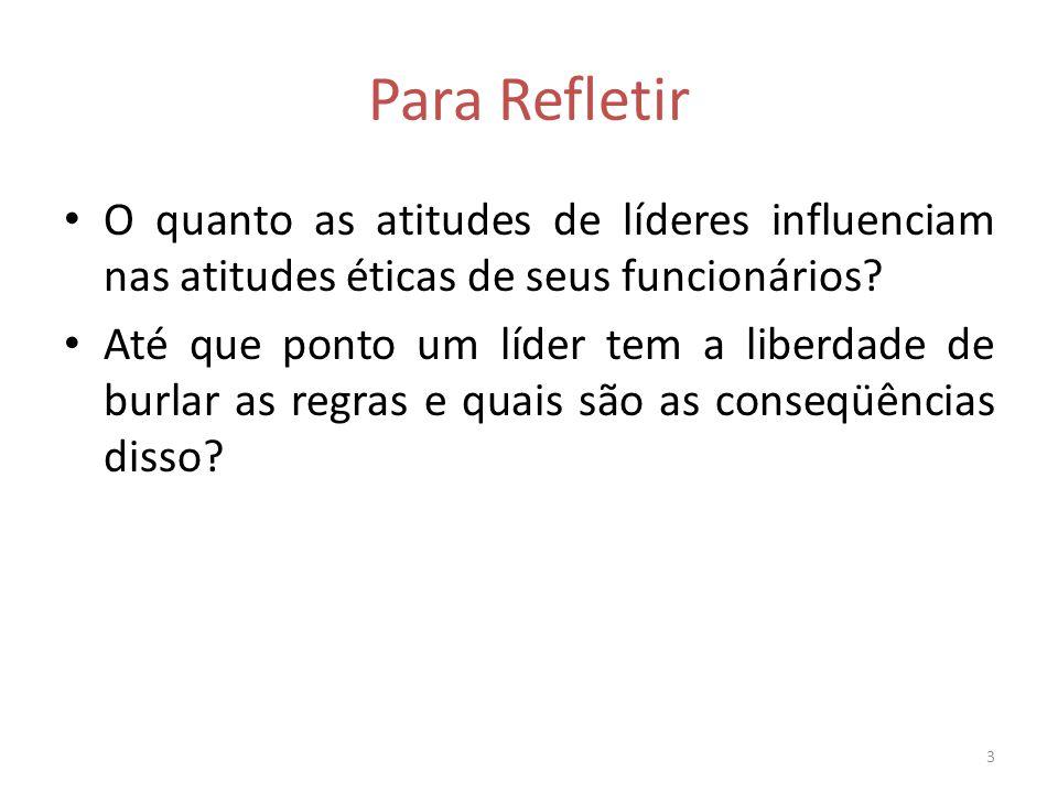 Para Refletir O quanto as atitudes de líderes influenciam nas atitudes éticas de seus funcionários