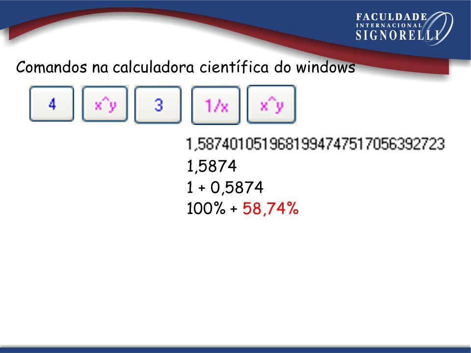 Comandos na calculadora científica do windows