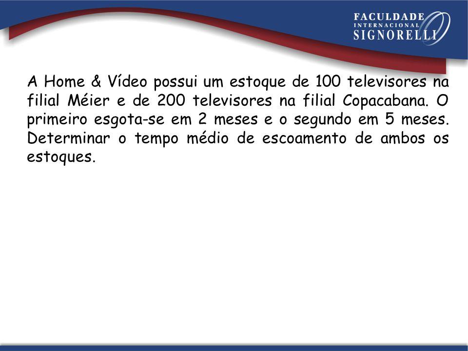 A Home & Vídeo possui um estoque de 100 televisores na filial Méier e de 200 televisores na filial Copacabana.