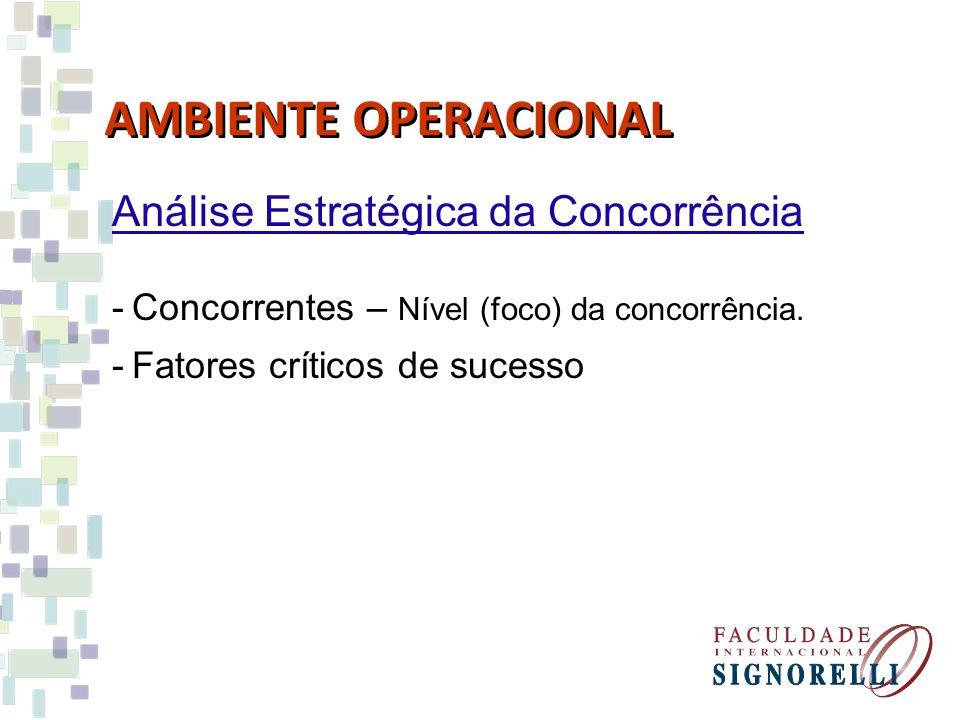 AMBIENTE OPERACIONAL Análise Estratégica da Concorrência