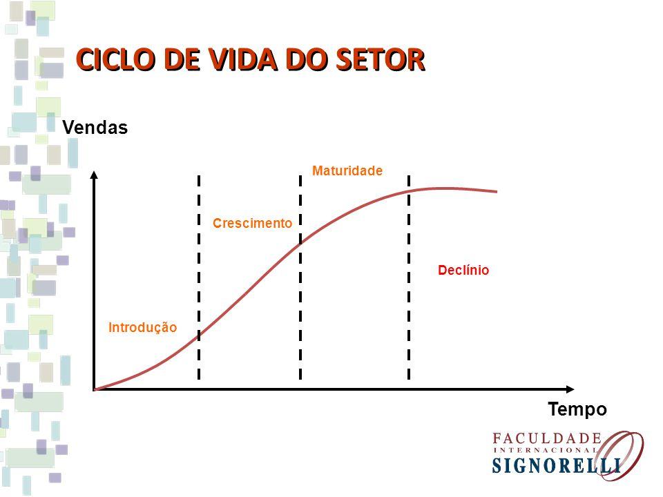 CICLO DE VIDA DO SETOR Vendas Tempo Maturidade Crescimento Declínio