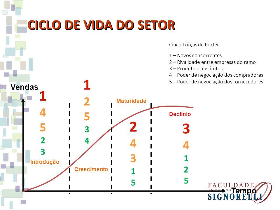 1 1 2 3 CICLO DE VIDA DO SETOR 2 5 4 5 4 4 3 3 4 2 3 1 1 2 5 5 Vendas