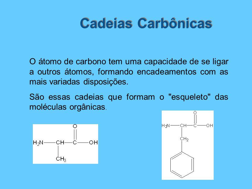 Cadeias Carbônicas O átomo de carbono tem uma capacidade de se ligar a outros átomos, formando encadeamentos com as mais variadas disposições.