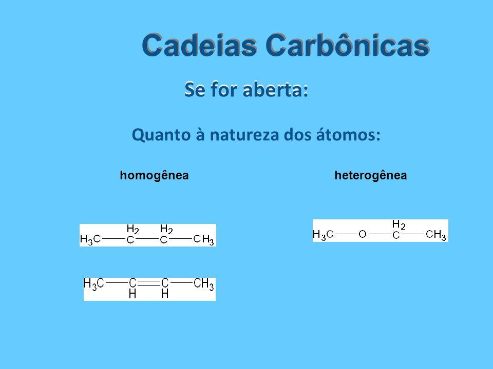 Quanto à natureza dos átomos: